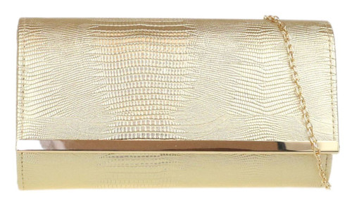 Croc Effect Clutch Bag