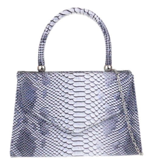 Womens Snake Skin Top Handle Clutch Bag
