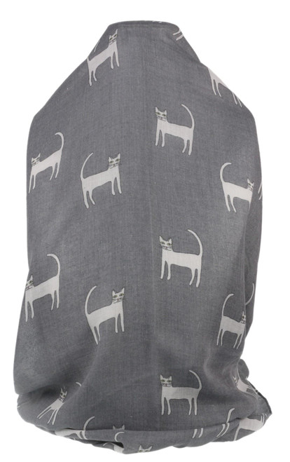 Sketcked Cats Print Scarf
