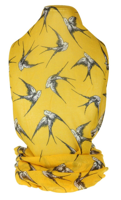 Elegant Swallows Print Scarf