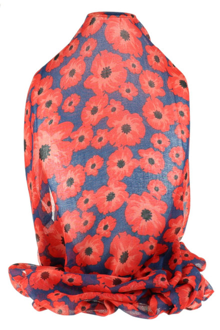 Poppy Flower Print Scarf