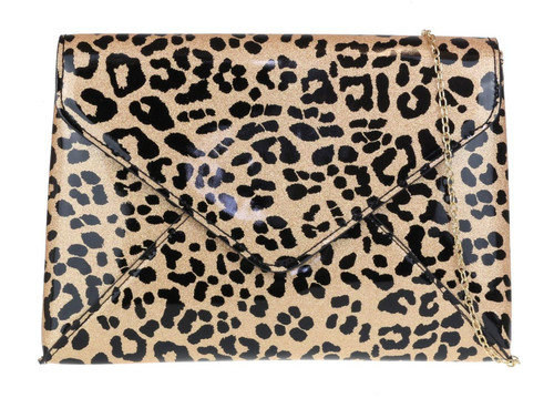 Envelope Leopard Clutch Bag