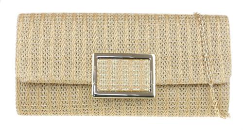 Womens Woven Frame Clutch Bag