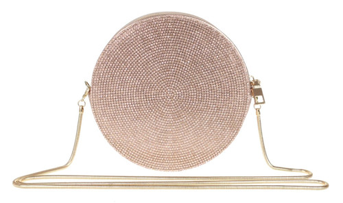 Womens Diamante Round Shape Clutch Bag