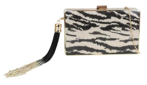Womens Glitter Hard Case Clutch Bag