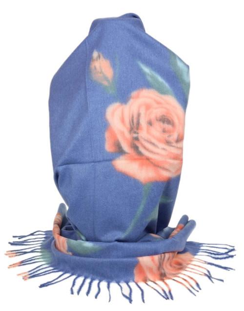 Womens Roses Tassel Scarf