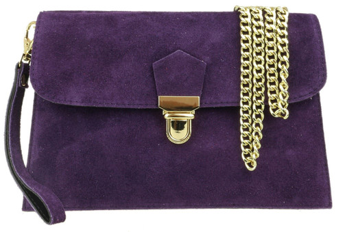 Double Front Genuine Suede Clutch Bag