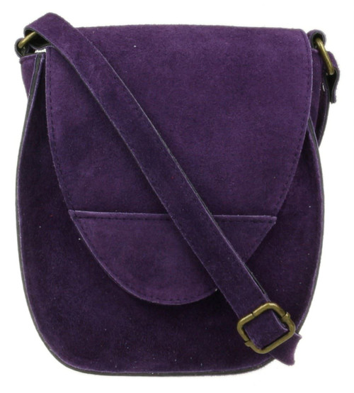 Oval Flap Genuine Suede Shoulder Bag