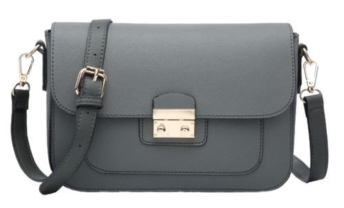 Womens Push Lock Plain Shoulder Bag