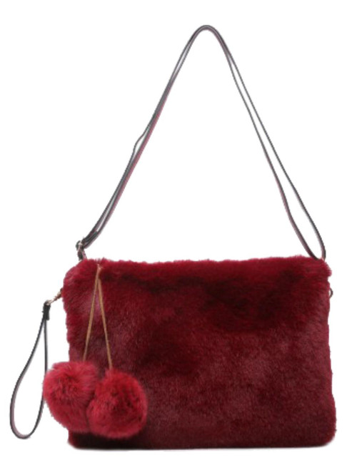 Womens Plain Fur Shoulder Bag