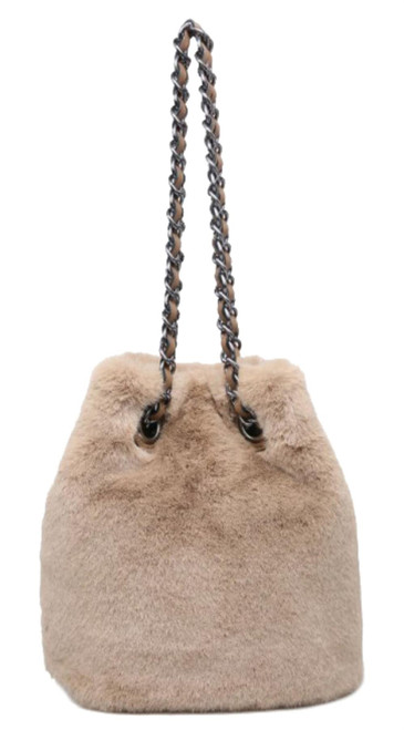Womens Fur Chain Handle Handbag