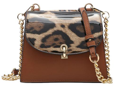 Womens Glossy Double Flap Handbag
