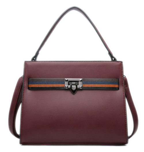 Womens Stripe Plain Handbag