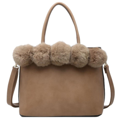Womens Top Fur Leopard Handbag