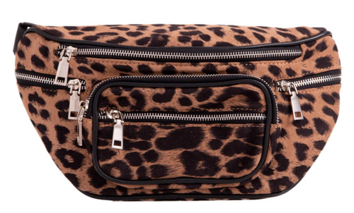 Womens Leopard Pocket Fanny Pack