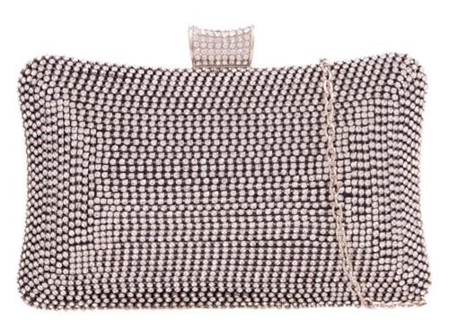 Womens Diamante Hard Case Clutch Bag