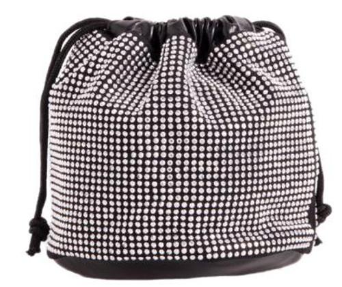 Womens Diamante Drawstring Clutch Bag
