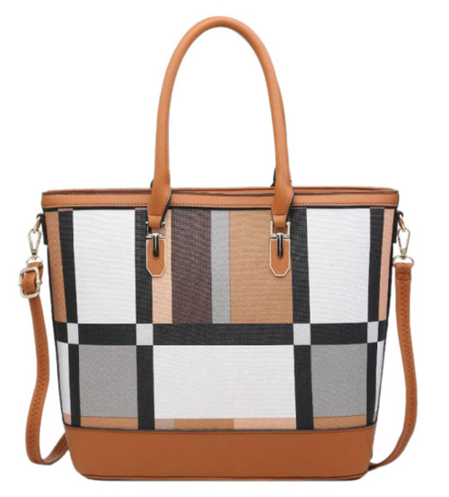 Womens Geometric Two Tone Handbag