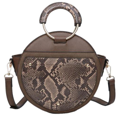 Womens Snake Skin Round Shape Shoulder Bag