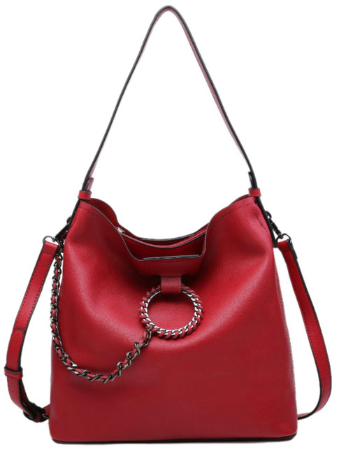 Womens Plain Chain Hobo Bag