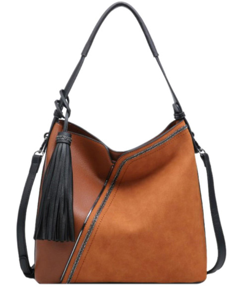 Womens Mixed Texture Hobo Bag