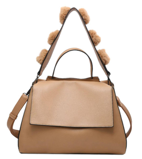 Womens Fur Balls Strap Shoulder Bag