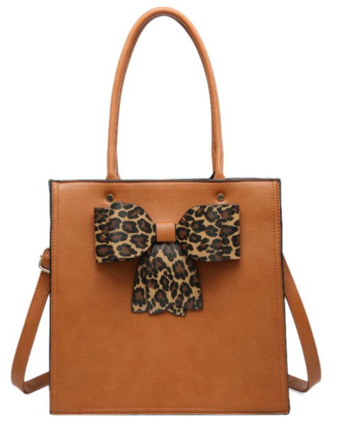 Womens Leopard Bow Top Handle Bag