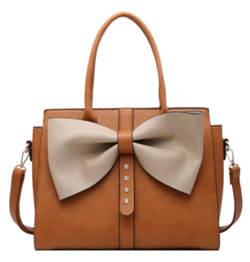 Womens Shimmer Big Bow Top Handle Bag