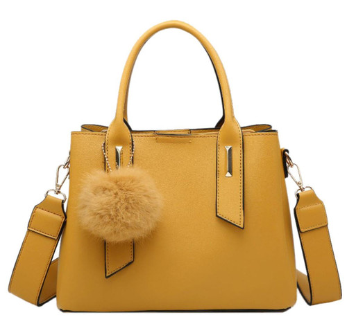 Womens Fur Ball Charm Shoulder Bag