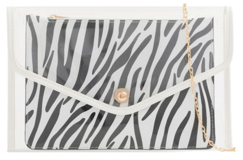 Womens 2 in 1 Zebra Transparent Clutch Bag