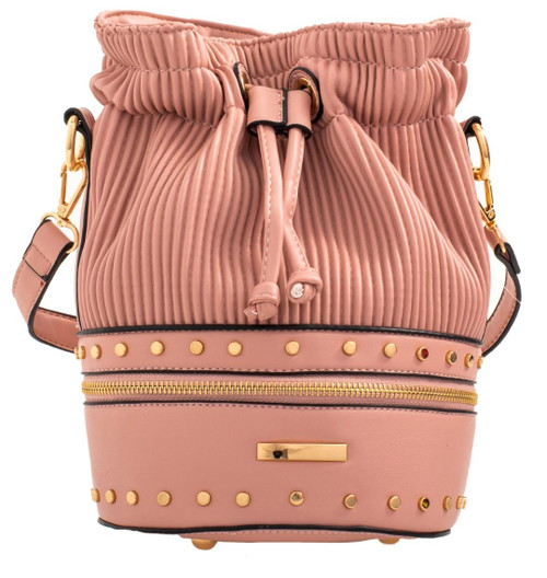 Womens Pleated Bucket Clutch Bag