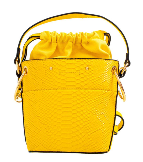 Womens Croc Drawstring Clutch Bag