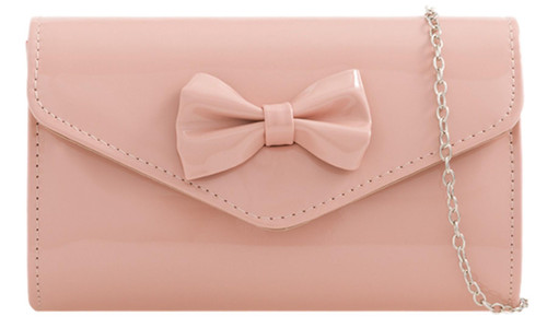 Womens Glossy Bow Clutch Bag