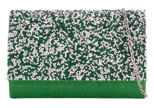 Womens Glitter Diamante Clutch Bag