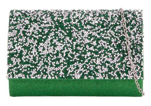 Womens Glitter Diamante Clutch Bag