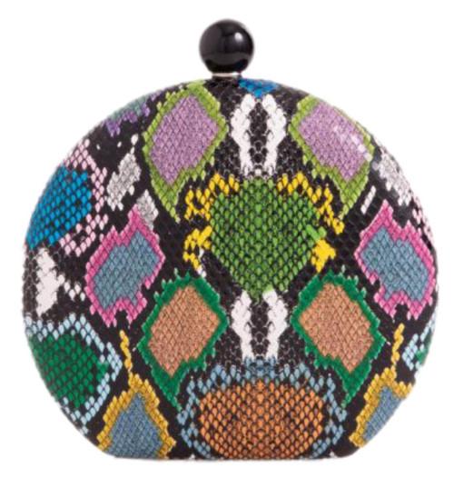 Womens Snake Skin Round Clutch Bag