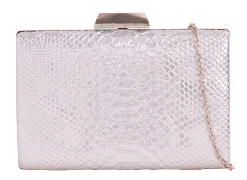 Womens Snake Skin Compact Clutch Bag