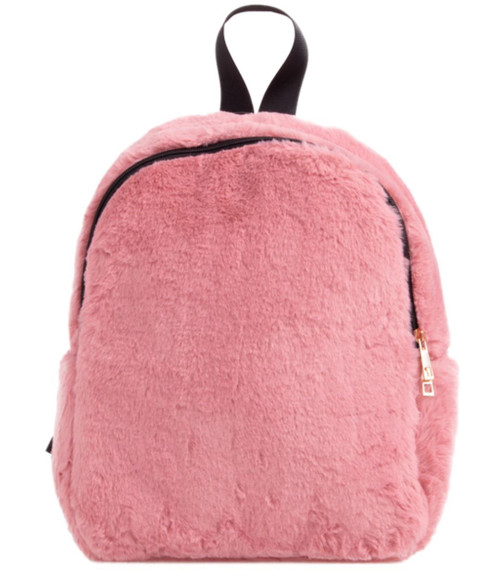 Womens Plain Fur Backpack