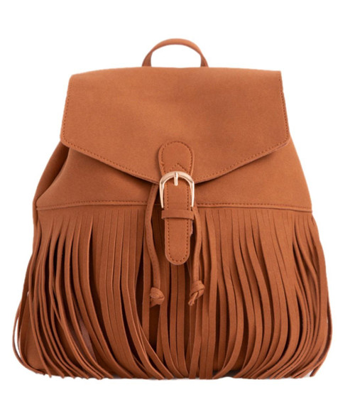 Womens Fringe Buckle Backpack