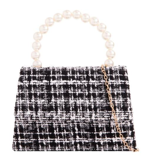 Womens Pearls Handle Clutch Bag
