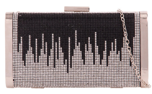 Ladies Diamante Hard Case Clutch Bag