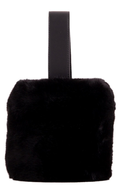 Womens Fur Handle Clutch Bag