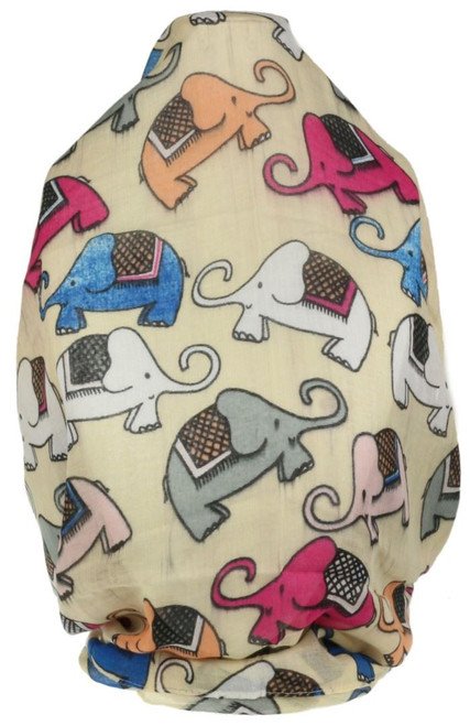 Comic Elephants Print Scarf
