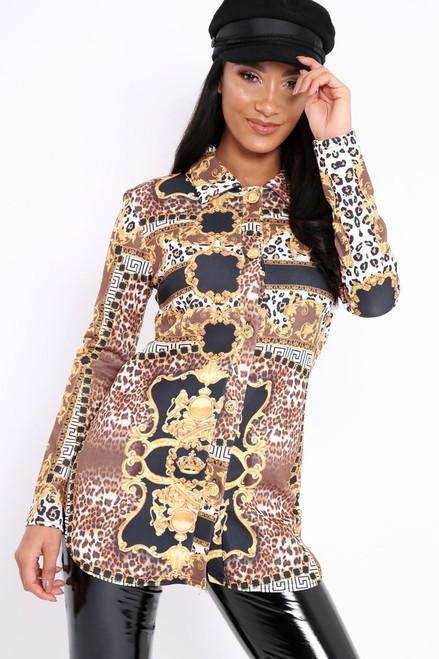 Leopard Scarf Print Blouse