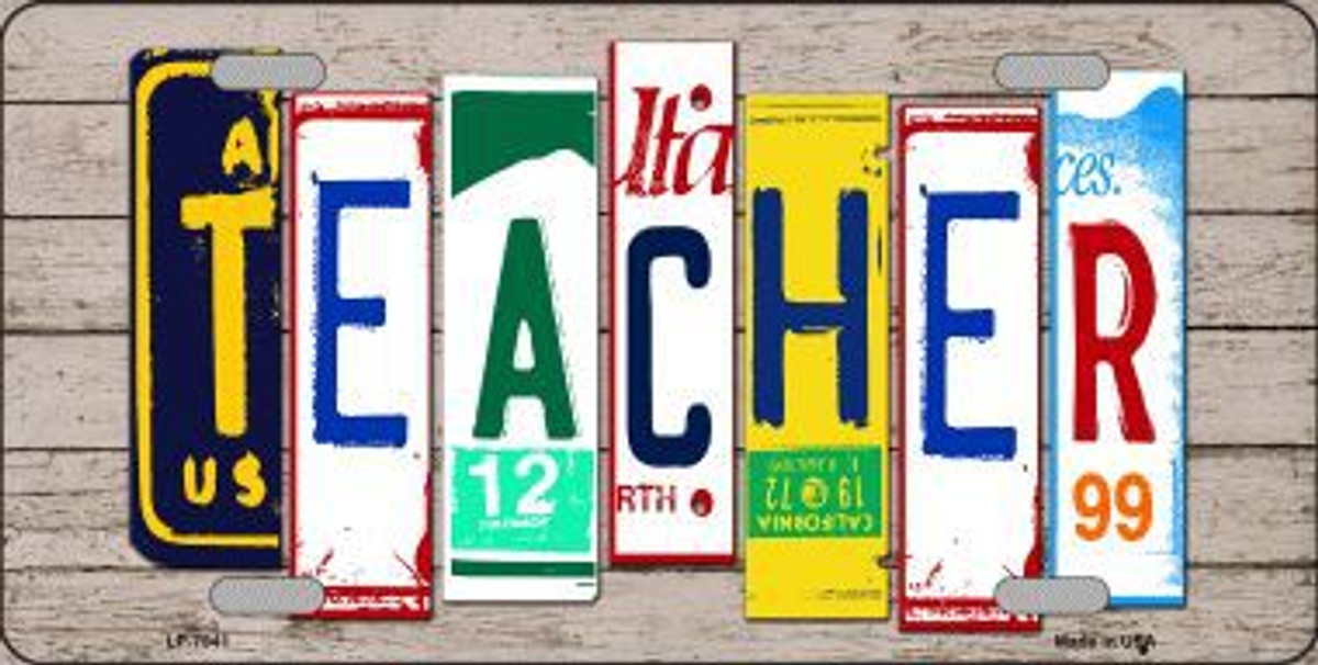 Zombie License Plate Art Wood Pattern Novelty License Plate Tag Sign