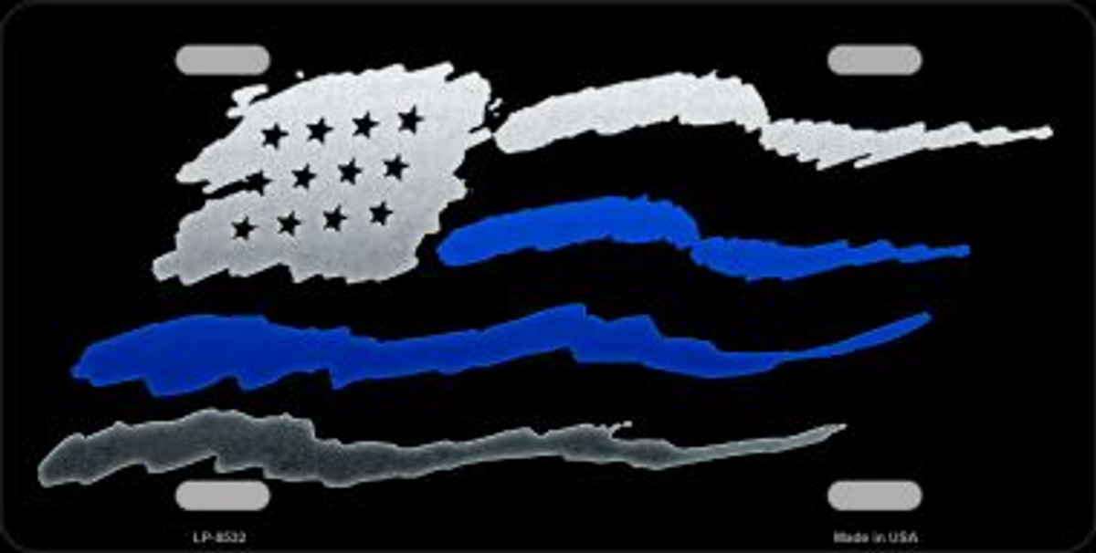 Thin Blue-Red Line Police-Firefighter American Flag Metal Novelty License Plate