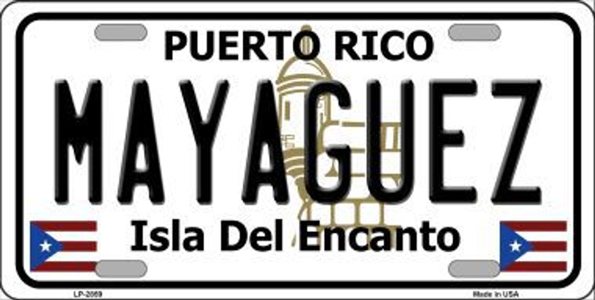 RETIRED PUERTO RICO NOVELTY STATE BACKGROUND METAL LICENSE PLATE