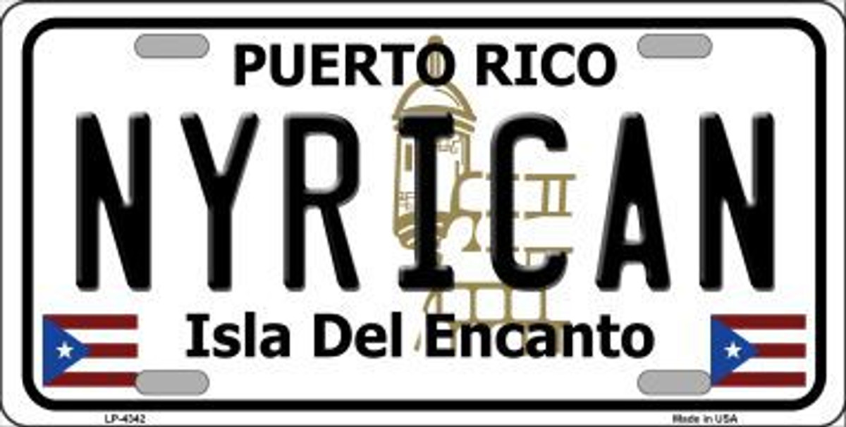 NYRICAN PUERTO RICO STATE FLAG BACKGROUND NOVELTY METAL LICENSE PLATE TAG