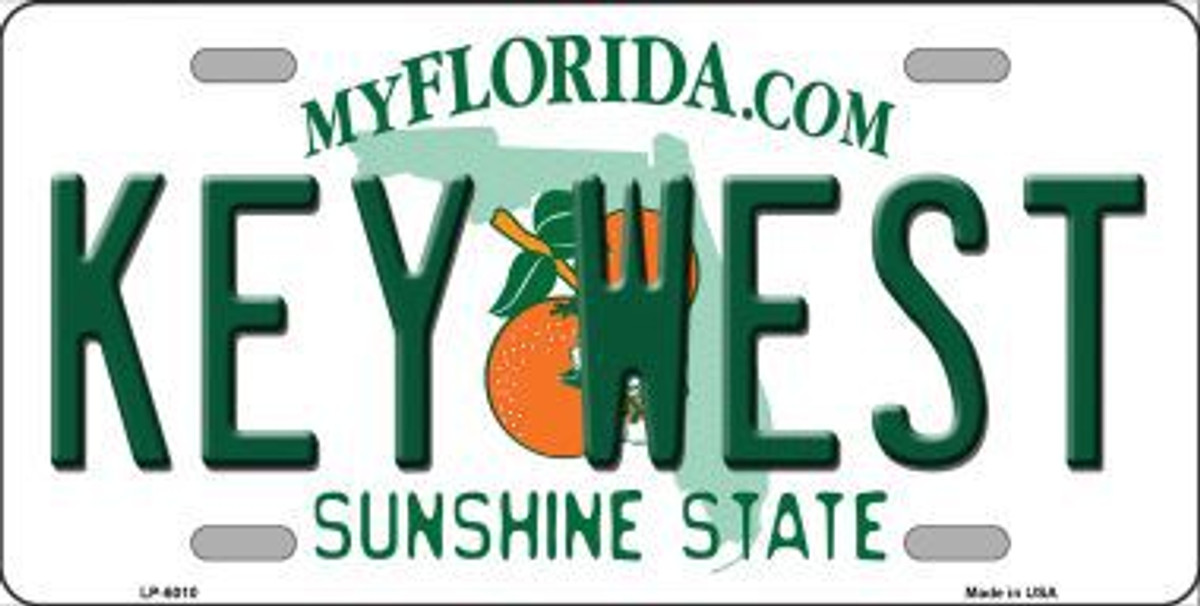 KEY WEST FLORIDA STATE BACKGROUND METAL NOVELTY LICENSE PLATE TAG