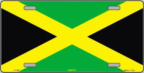 Beabes Jamaican Flag Front License Plate Cover,Country Flag Black Yellow Green Decorative License Plates for Car,Aluminum Novelty Auto Car Tag Vanity Plates Gift for Men Women 6x12 Inch